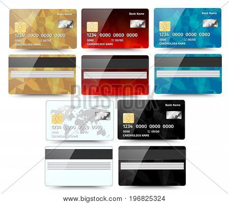 Set of Realistic detailed credit cards with abstract geometric design isolated on white background.