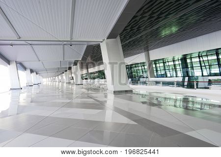 Futuristic Empty Hallway With Modern Interior
