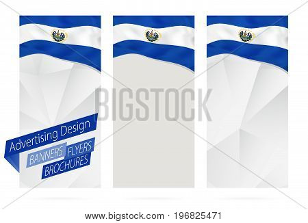 Design Of Banners, Flyers, Brochures With Flag Of El Salvador.