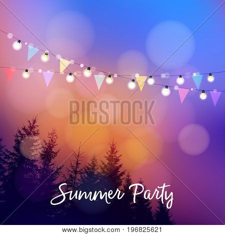 Birthday outdoor summer party or Brazilian june party, Festa junina. Vctor illustration with string of lights, party flags, silhouettes of trees and sunset background.