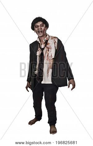 Scary Asian Zombie Man In A Suit Clothes