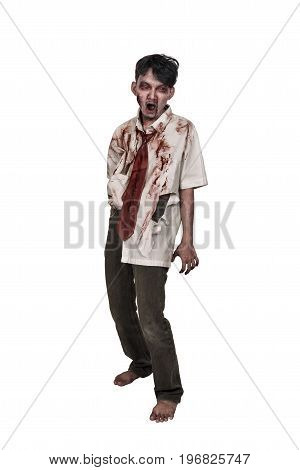 Creepy Asian Zombie Man With Bloody Face Standing