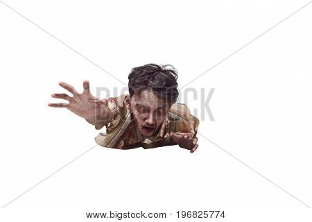 Spooky Asian Undead Man Crawling