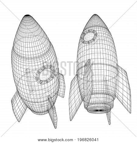 Design of a space rocket. The concept of a startup. Vector illustration