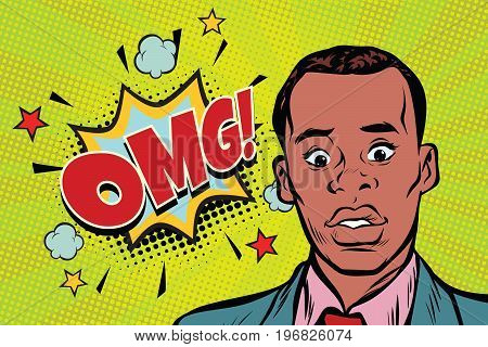omg pop art African man surprise illustration. Comic text bubble. Human emotions. retro comic book vector illustration