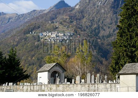 Palagnedra, Switzerland - 15 April 2015: The rural village of Costa view from Palagnedra on Centovalli valley Switzerland