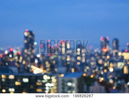 Blur City scape night scene skyline Building with lighting