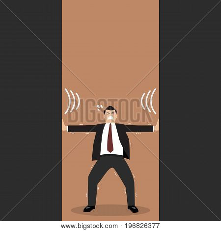 Businessman pushing against squeezing walls. Business stress concept