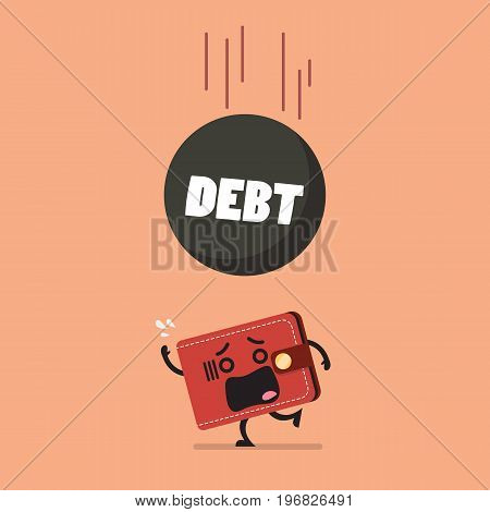Heavy debt falling to frightened wallet. Business finance concept