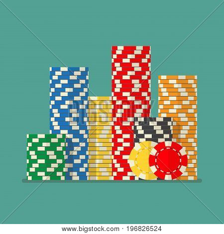 Stacks colorful poker chips. Vector illustration flat style