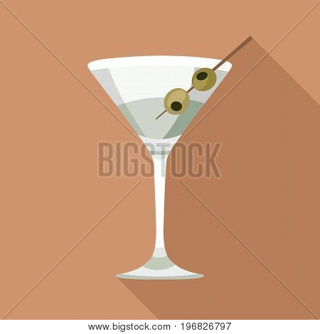 Martini in a glass with olives a bright vector icon in a flat style. Cocktail vector illustration of a wine glass on an orange background with a long shadow