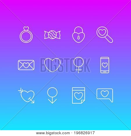 Editable Pack Of Engagement, Invitation, Smartphone And Other Elements.  Vector Illustration Of 12 Amour Icons.