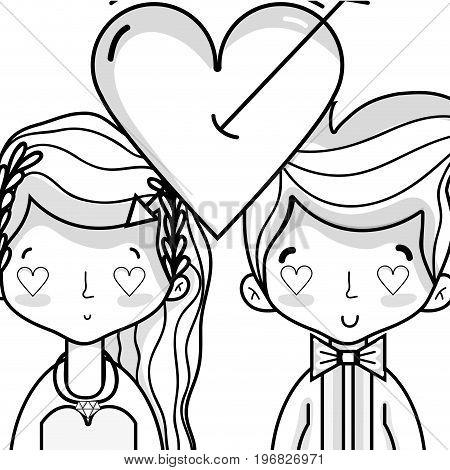 couple lover merried celebration design vector illustration