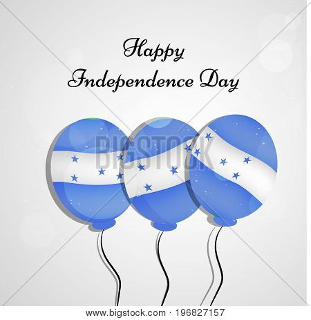 illustration of balloons in Honduras flag background with Happy Independence day text on the occasion of Honduras Independence Day
