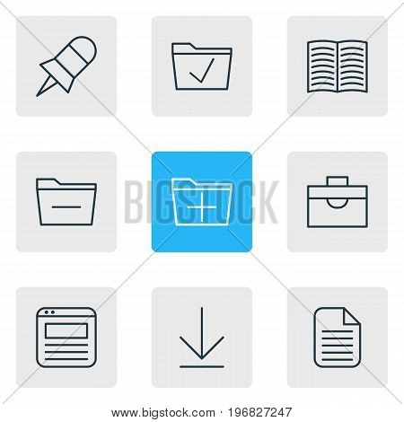 Editable Pack Of Approve, Downloading, Note And Other Elements.  Vector Illustration Of 9 Workplace Icons.
