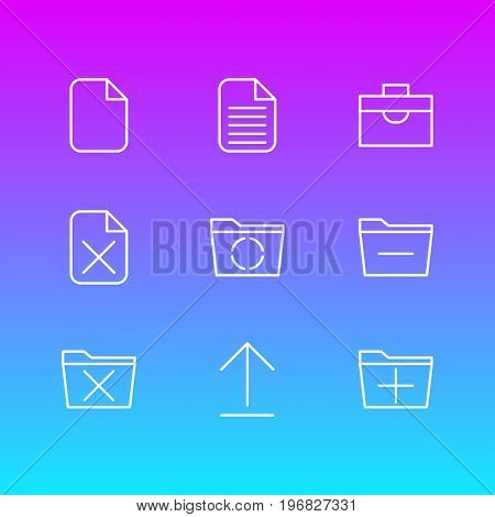 Editable Pack Of Blank, Install, Add And Other Elements.  Vector Illustration Of 9 Office Icons.