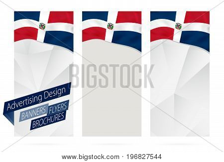 Design Of Banners, Flyers, Brochures With Flag Of Dominican Republic.