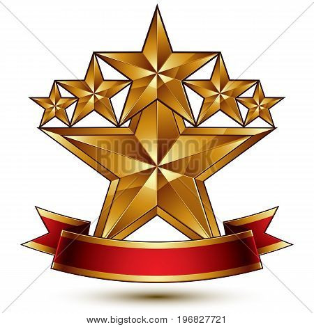 Glamorous vector template with pentagonal golden stars best for use in web and graphic design. Conceptual heraldic icon with red curved ribbon clear eps8 vector.