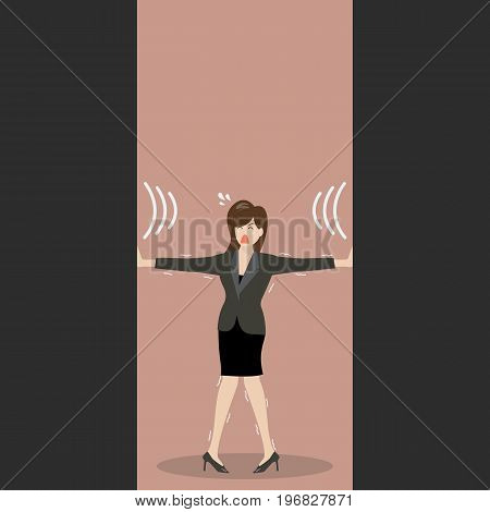 Business woman pushing against squeezing walls. Business stress concept