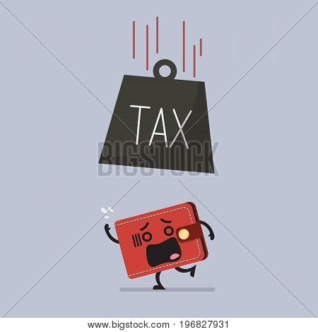 Heavy tax falling to frightened wallet. Business finance concept