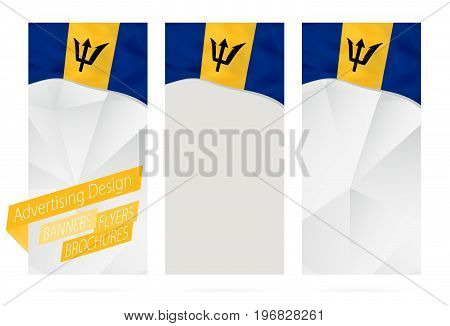 Design Of Banners, Flyers, Brochures With Flag Of Barbados.
