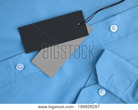 Two label price tags on blue shirt mockup for price or brand presentation.