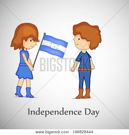 illustration of boy and girl holding Honduras flag with Independence day text on the occasion of Honduras Independence Day