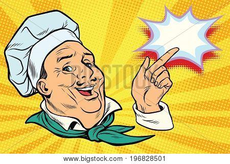 chef points his finger gesture. Pop art retro comic book vector illustration