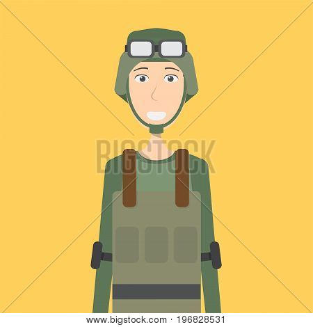Soldier Character Male | set of vector character illustration use for human, profession, business, marketing and much more.The set can be used for several purposes like: websites, print templates, presentation templates, and promotional materials.