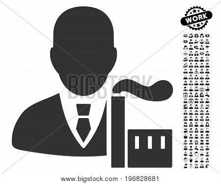 Capitalist Oligarch icon with black bonus job images. Capitalist Oligarch vector illustration style is a flat gray iconic element for web design app user interfaces.