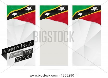 Design Of Banners, Flyers, Brochures With Flag Of Saint Kitts And Nevis.