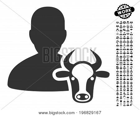Cow Farmer icon with black bonus work clip art. Cow Farmer vector illustration style is a flat gray iconic element for web design app user interfaces.
