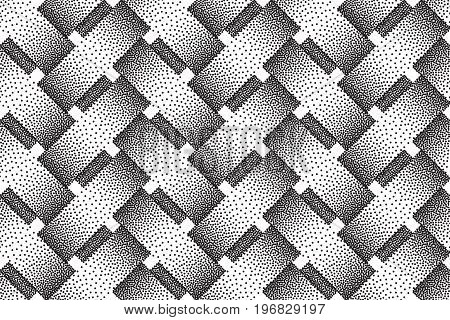 Vector seamless decorative pattern of interweaving bars. Stipple texture.