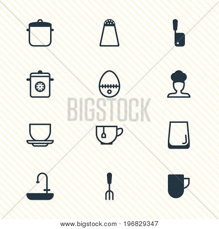 Editable Pack Of Tea Cup, Cook, Fork And Other Elements.  Vector Illustration Of 12 Restaurant Icons.