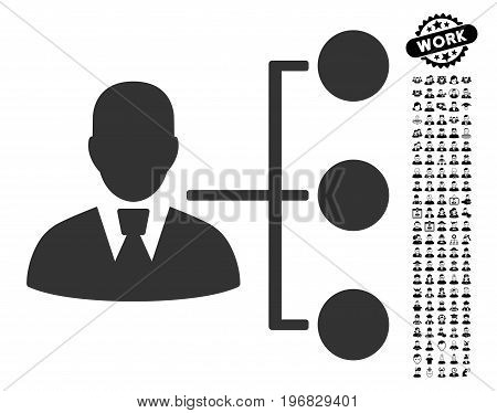 Distribution Manager icon with black bonus people icon set. Distribution Manager vector illustration style is a flat gray iconic element for web design app user interfaces.