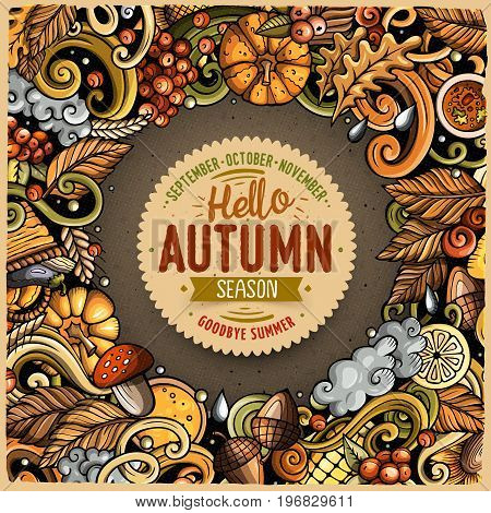 Cartoon vector doodles Autumn frame design. Colorful detailed, with lots of objects illustration. All items are separate. Bright colors fall funny border
