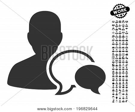 Forum Moderator icon with black bonus men images. Forum Moderator vector illustration style is a flat gray iconic element for web design app user interfaces.