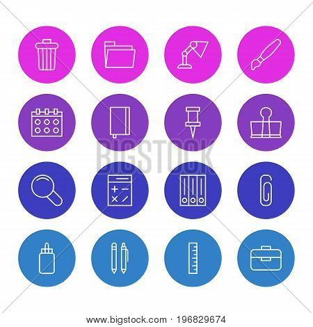 Editable Pack Of Illuminator, Archive, Paint And Other Elements.  Vector Illustration Of 16 Tools Icons.