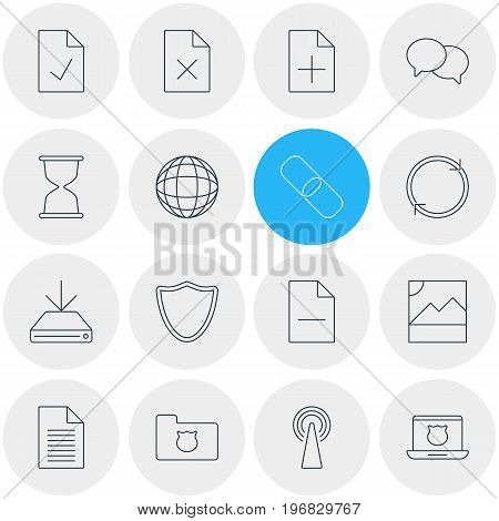 Editable Pack Of Chain, Secure Laptop, Sandglass Elements.  Vector Illustration Of 16 Web Icons.