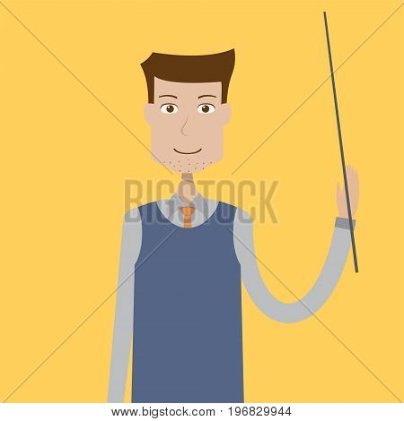 Teacher Character Male | set of vector character illustration use for human, profession, business, marketing and much more.The set can be used for several purposes like: websites, print templates, presentation templates, and promotional materials.