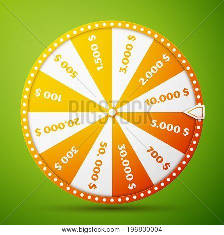 Colorful fortune wheel design. Realistic wheel of fortune illustration, isolated on green background. Vector illustration, EPS 10