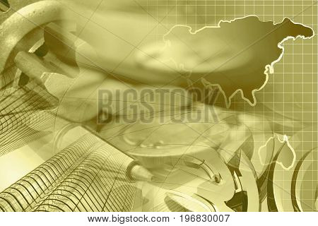 Financial background in sepia with money buildings map and pen.