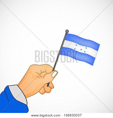 illustration of hand holding Honduras flag on the occasion of Honduras Independence Day