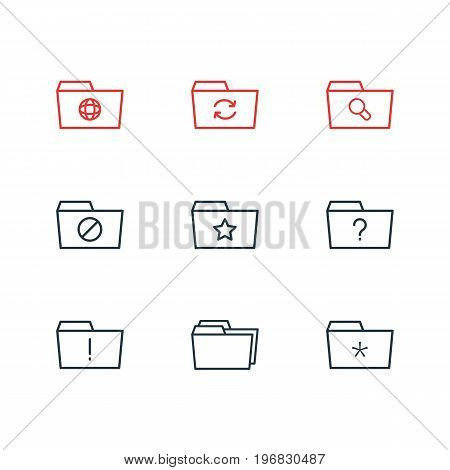 Editable Pack Of Important, Question, Pinned And Other Elements.  Vector Illustration Of 9 Folder Icons.