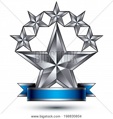 Branded metallic geometric symbol with curvy ribbon stylized silver stars best for use in web and graphic design corporate vector icon isolated on white background.