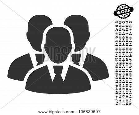 Manager Group icon with black bonus profession images. Manager Group vector illustration style is a flat gray iconic symbol for web design app user interfaces.