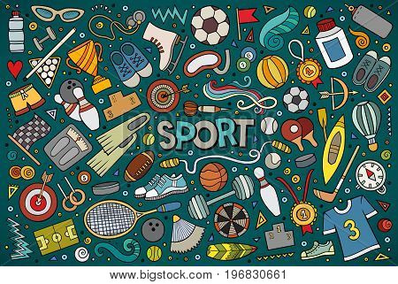 Colorful vector hand drawn doodle cartoon set of Sport objects and symbols
