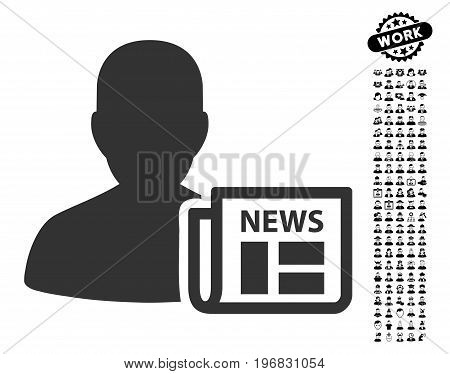 Newsmaker Newspaper icon with black bonus profession symbols. Newsmaker Newspaper vector illustration style is a flat gray iconic symbol for web design app user interfaces.