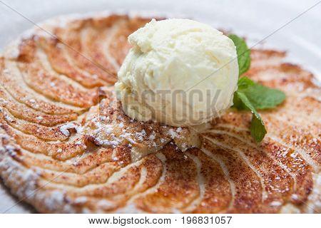 Apple Tart, Flat Apple Pie With Ice Cream On The White Background