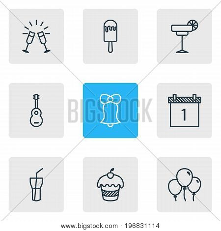 Editable Pack Of Muffin, Sundae, Goblet And Other Elements.  Vector Illustration Of 9 Banquet Icons.